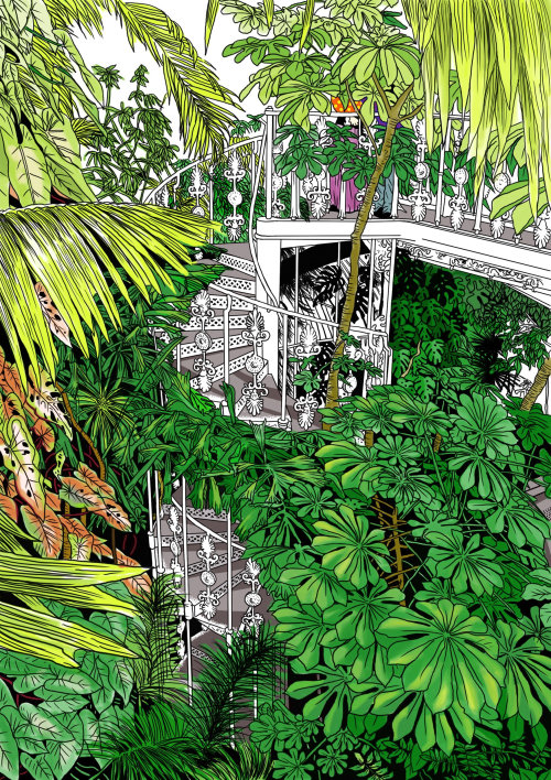 Garden staircase painting by Cat Sims