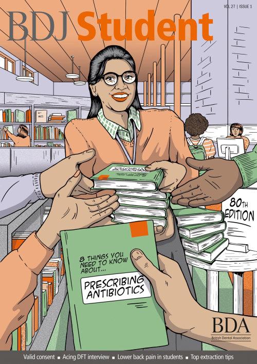 Ilustración cómica de escritor de libros