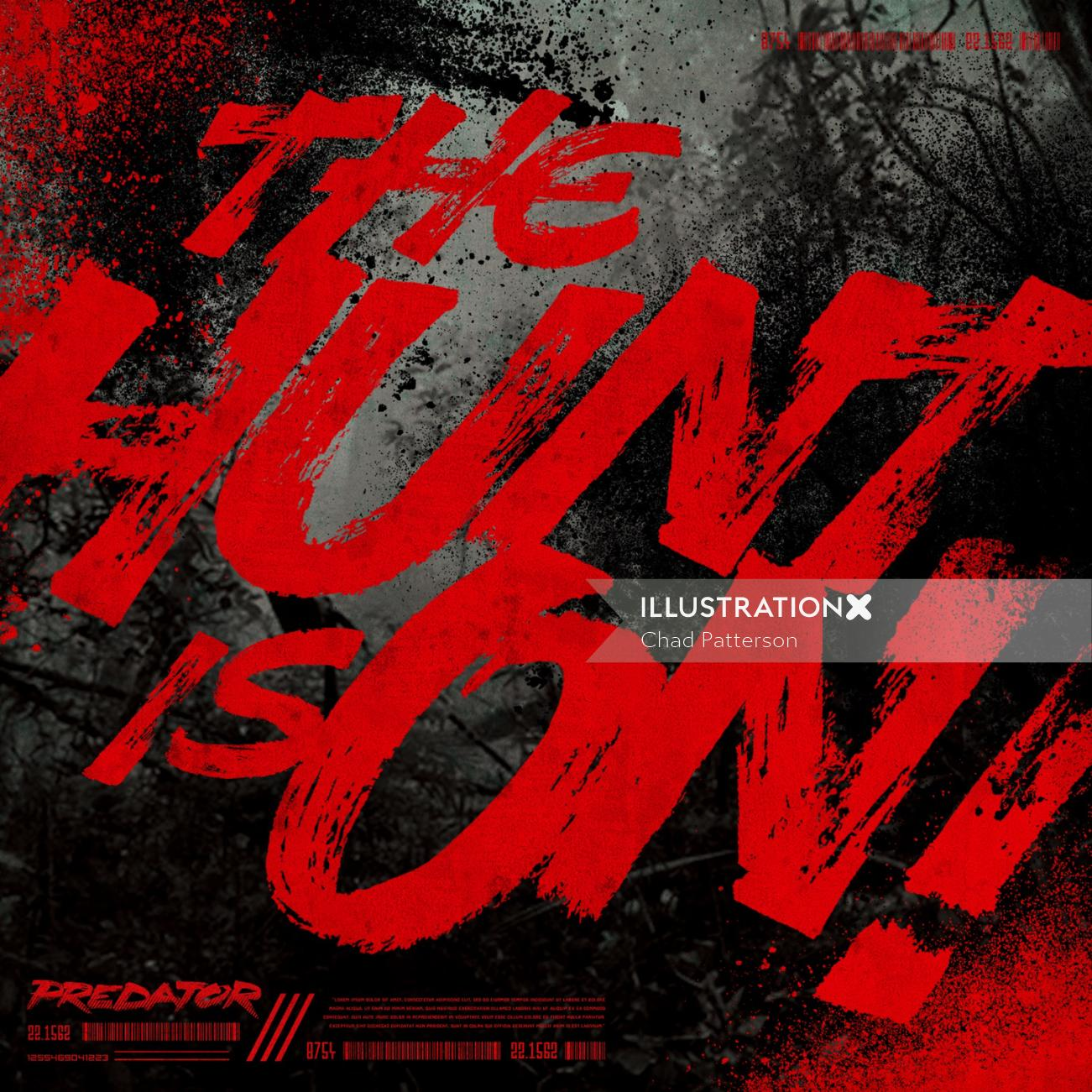 Custom typography for Predator movie handlettering