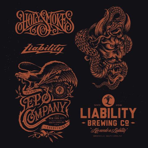 lettering designs for Liability Brewing Co