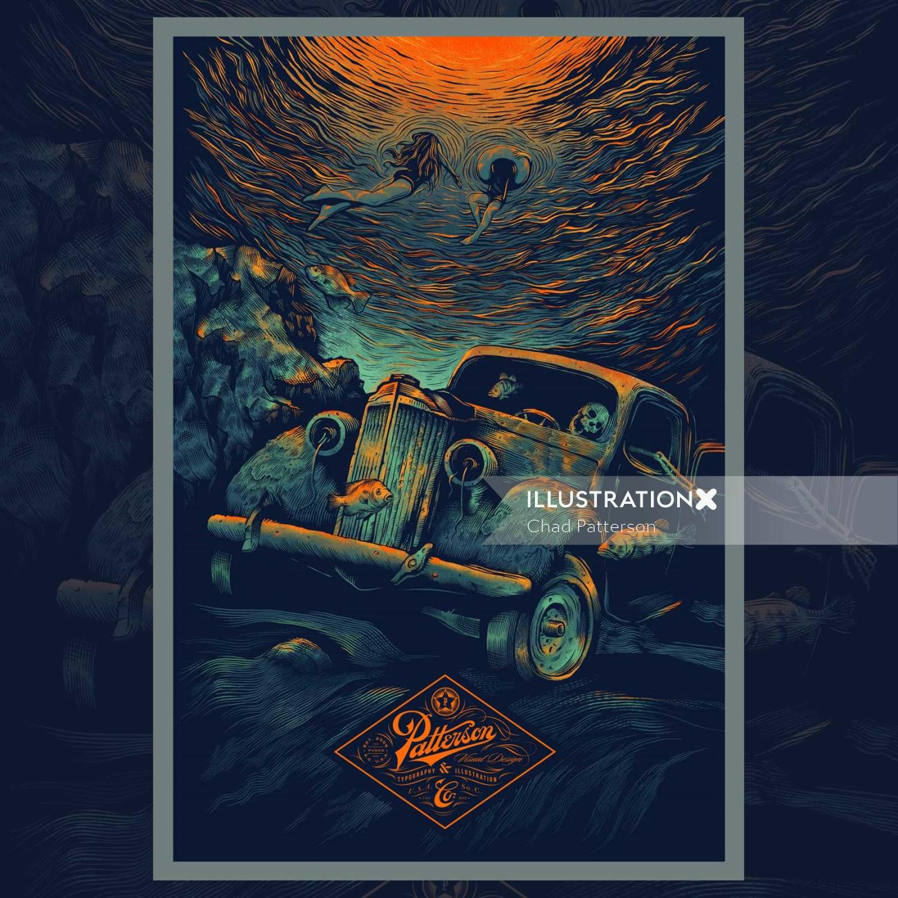 Decorative car poster design by Chad Patterson