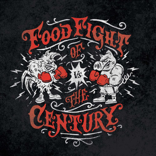 Chicken vs Pig in the food fight of the century logo design
