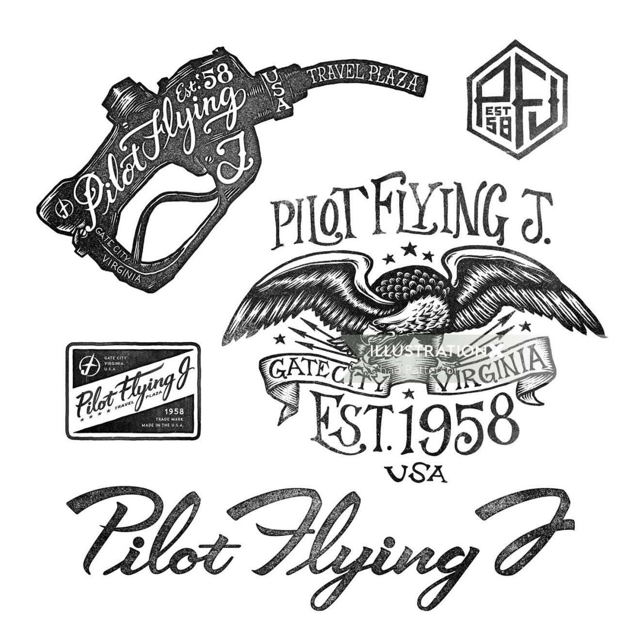 Pilot Flying  lettering Apparel designs