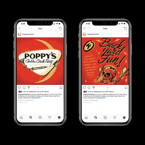 Social Media invites for Poppy's Golden Circle Party hand lettering logo