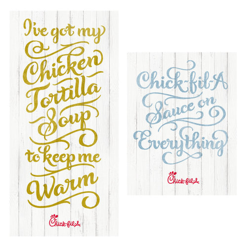 Chick-Fila Truths Poster Chicken Beef Food Calligraphy Soup Warm Hand lettering