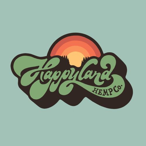 Brand hand lettering logo Wordmark for Happy land Hemp co