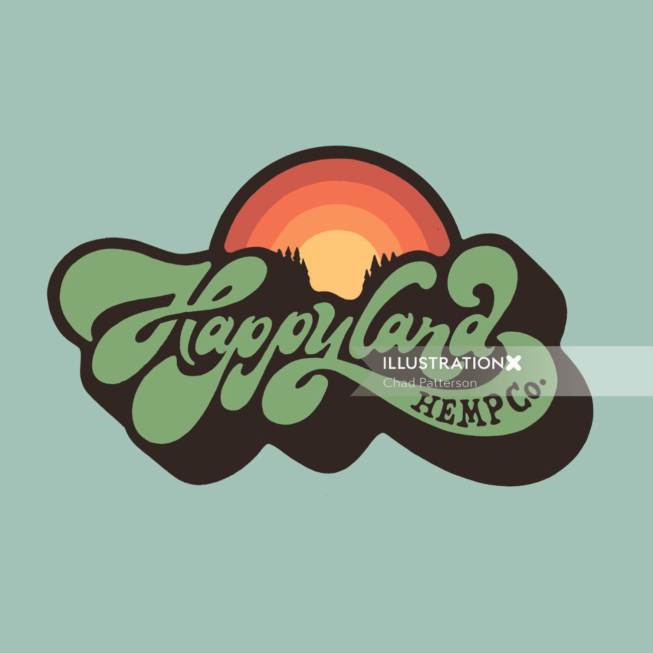 Brand hand lettering logo Wordmark for Happy land Hemp co