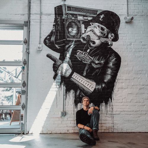 Mural design that depicts LL Cool J as a Storm Trooper