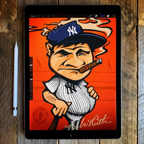 Baseball player design card caricature smoking cigar yankees