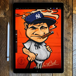 Baseball player design card caricature smoking cigar yankees