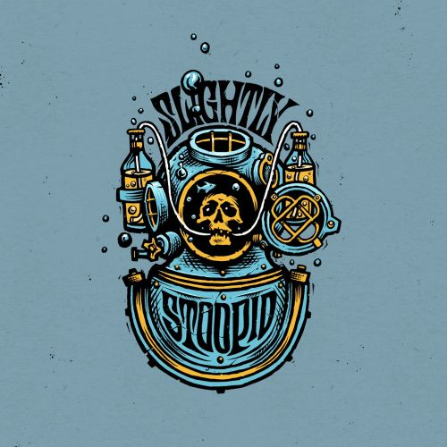 Slightly Stoopid Logo Design diving diver beer bottle
