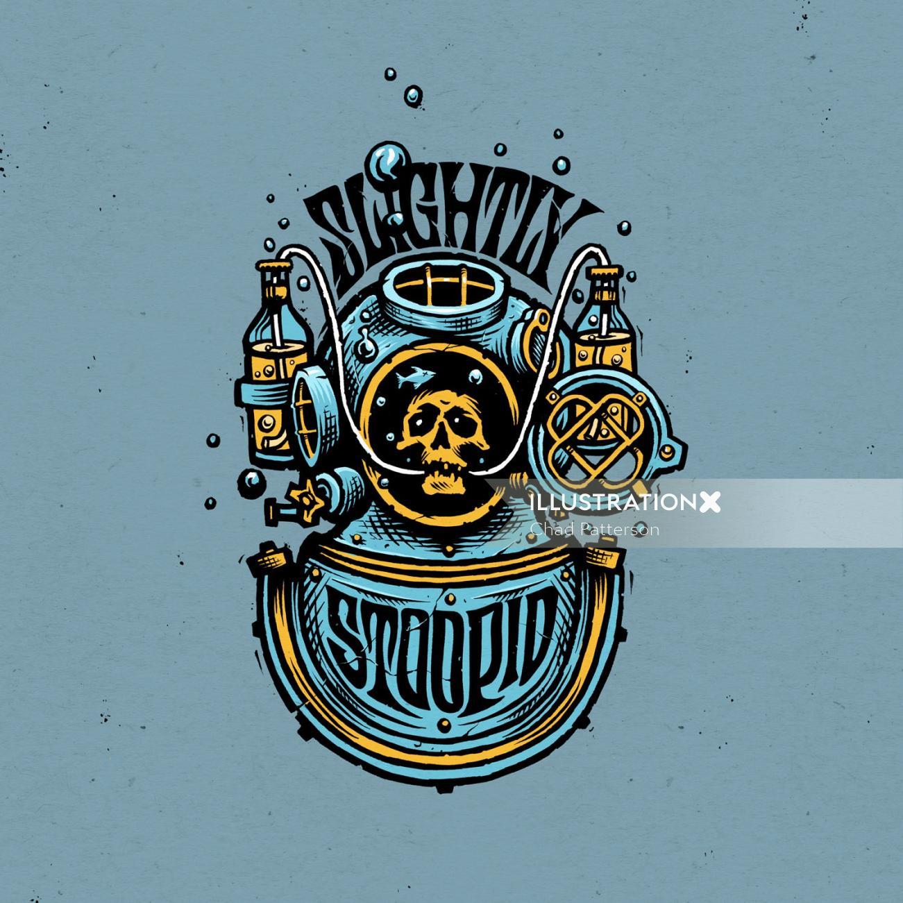 Slightly Stoopid Logo Design diving diver beer bottle