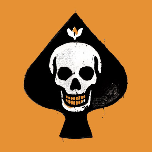 biker badge skull style illustrated by Chris Ede