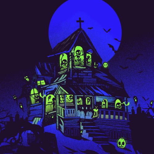 magical monsters Halloween house street art