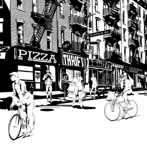 black and white illustration of Brooklyn city street scene