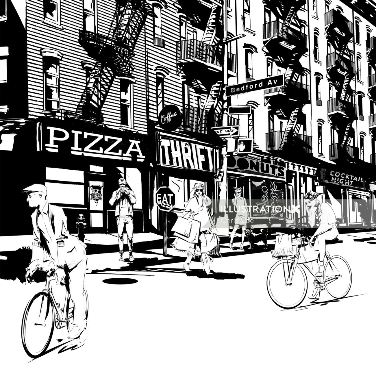 black and white illustration of Brooklyn city street scene