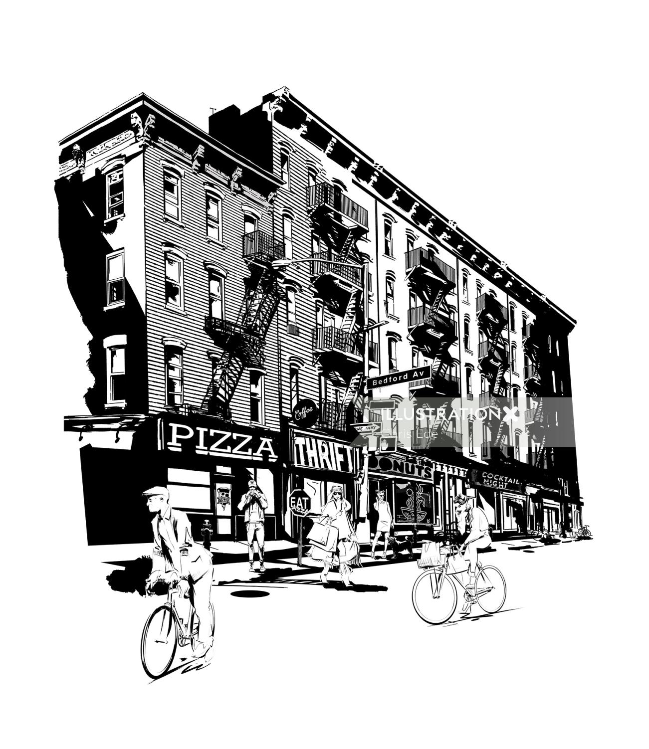Black and white Brooklyn Greenpoint Graphic