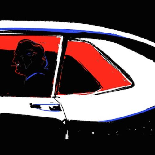 Animation of man travelling in car