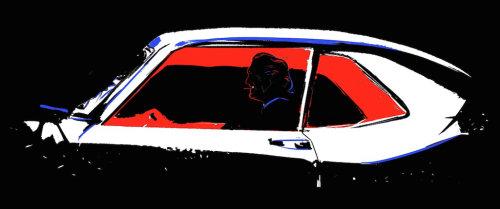 男子开车旅行的动画