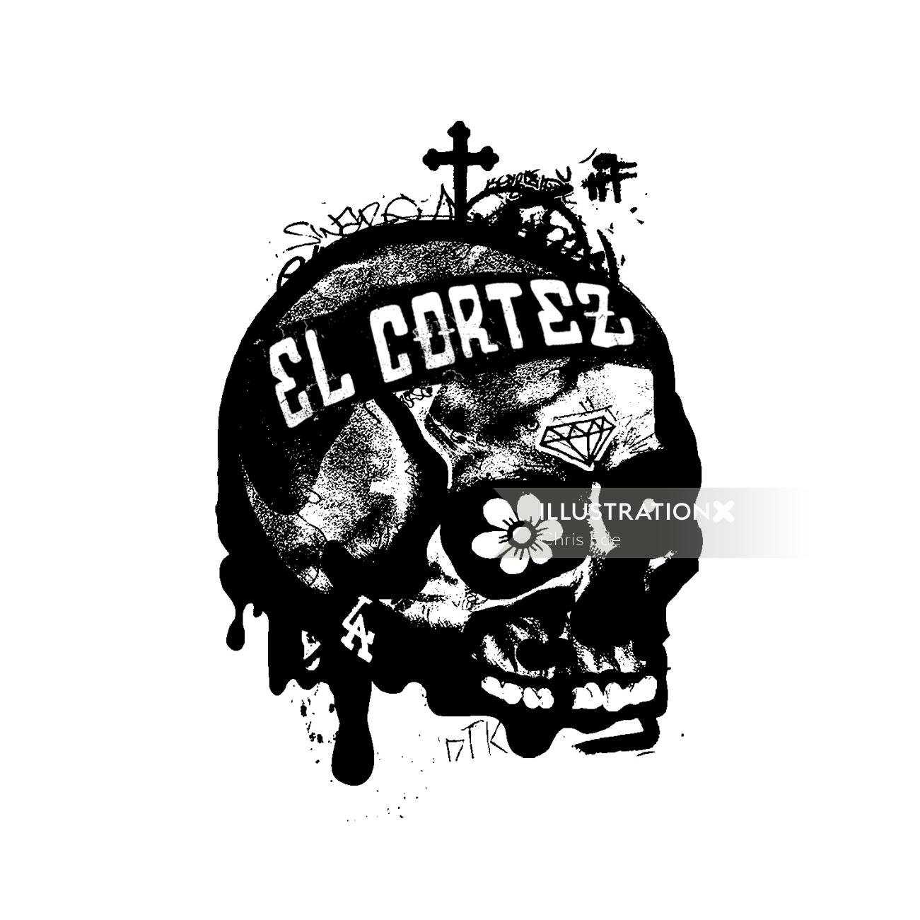 Black and white Skull art Let What You Love Kill You