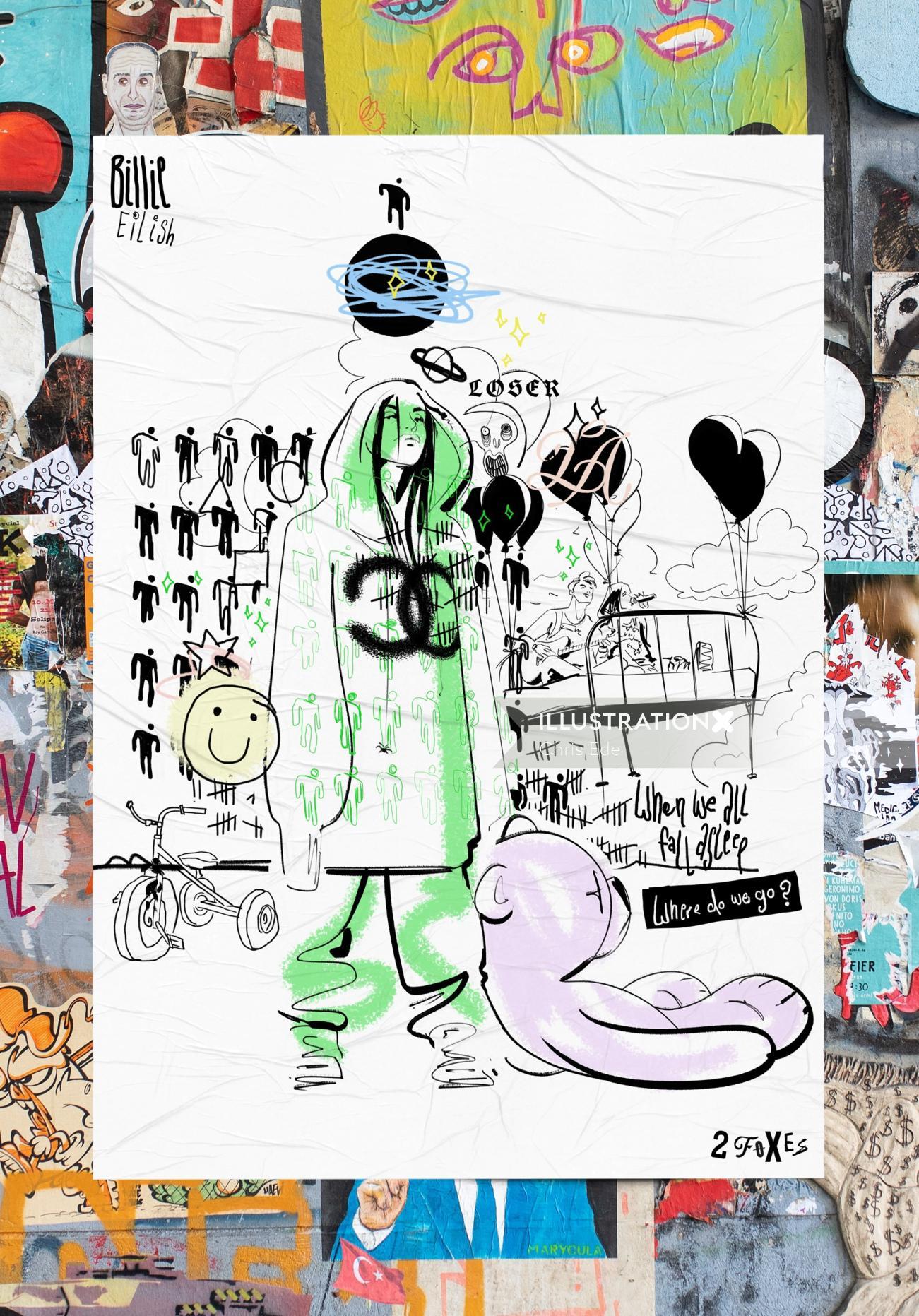 Collage of Billie Eilish Portrait