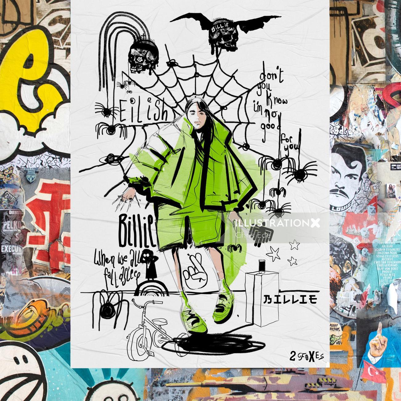 Graphic poster Billie Eilish Portrait