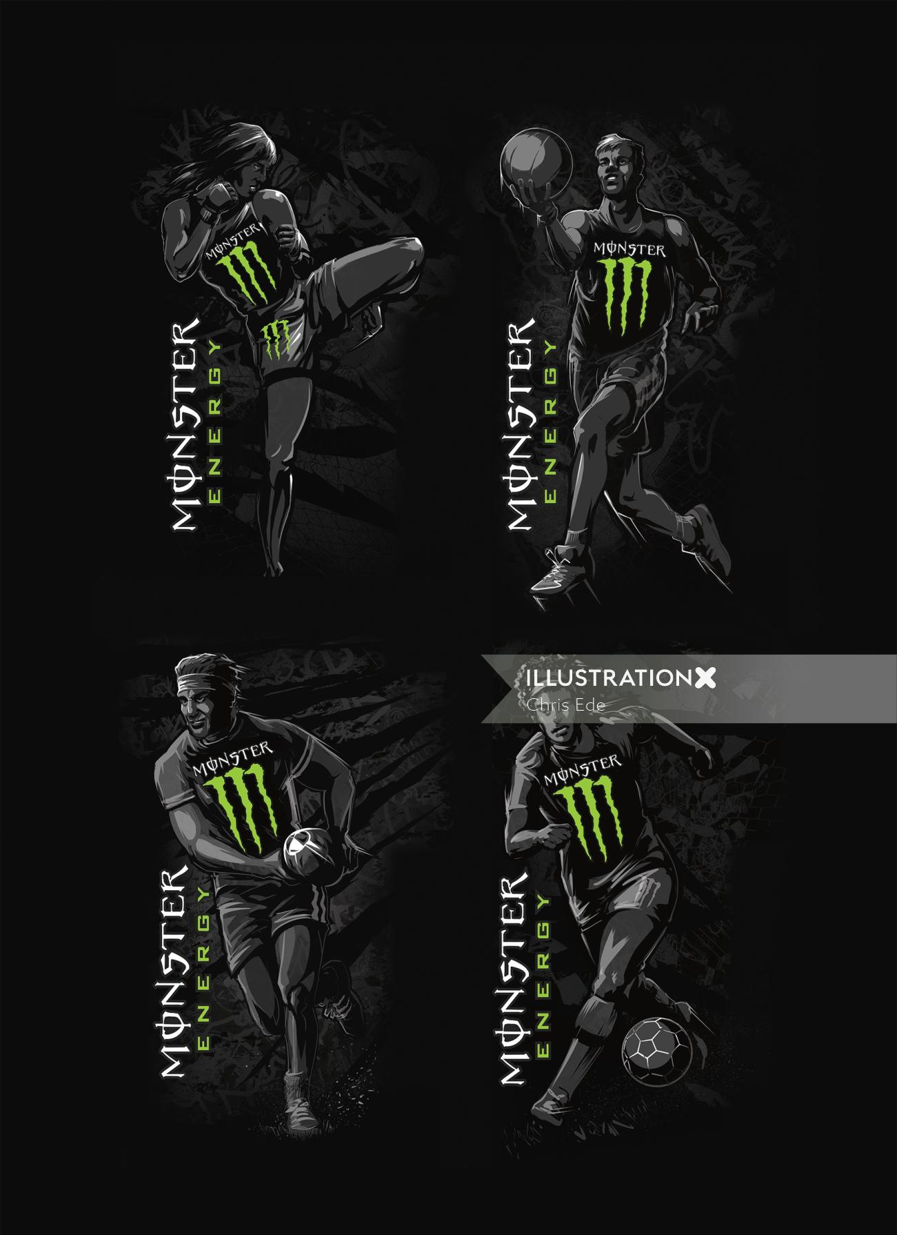 Monster energy sports can illustration