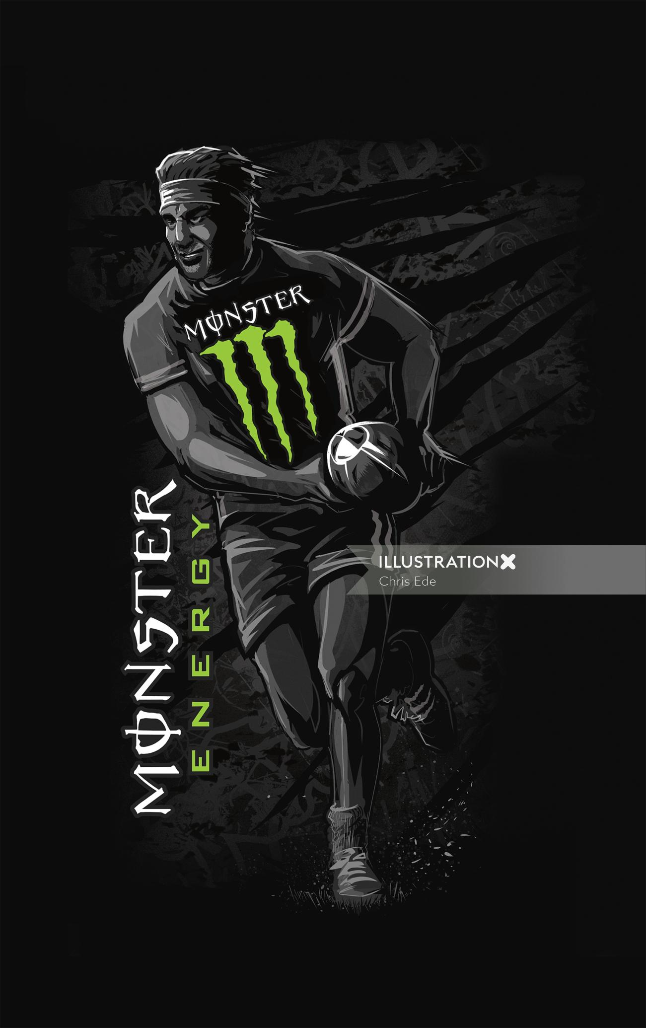 Monster energy sports can rugby player