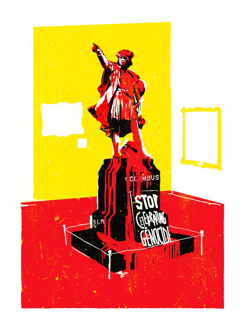 graphic statue stop celebrating genocide