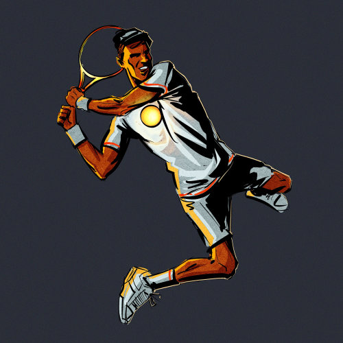 Graphic tennis player hitting the ball