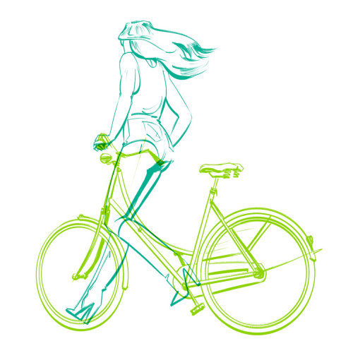 Line art girl with bicycle