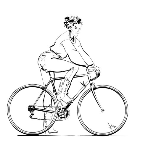Graphic woman on bicycle