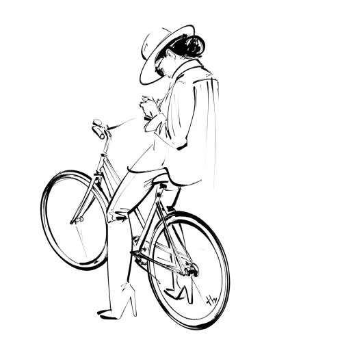 Graphic girl on bicycle