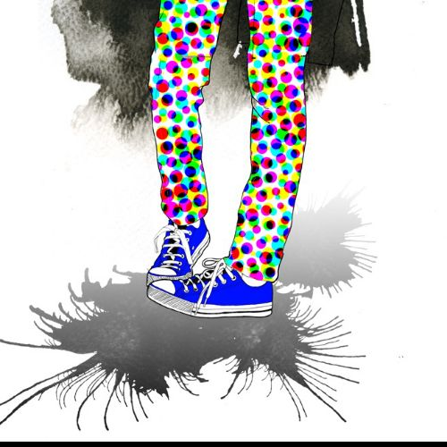 contemporary illustration of shoes and skinny trouser