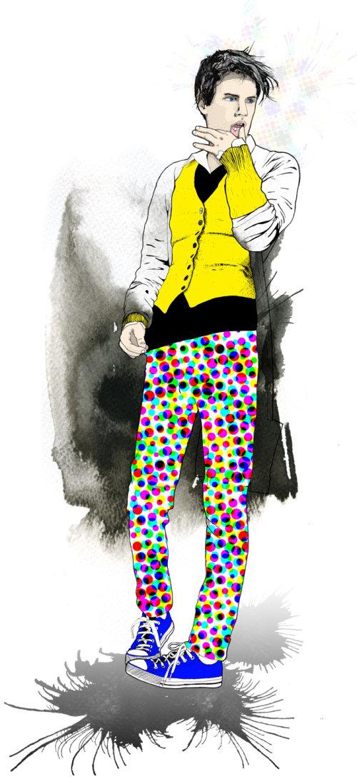 鞋子和紧身长裤的当代插图