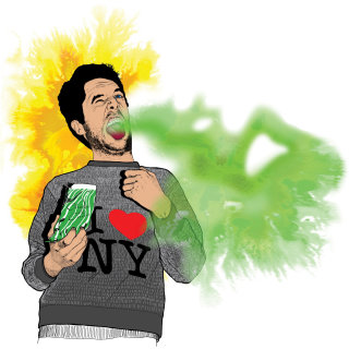 Man eating chilli expression - An illustration by Chris Ede