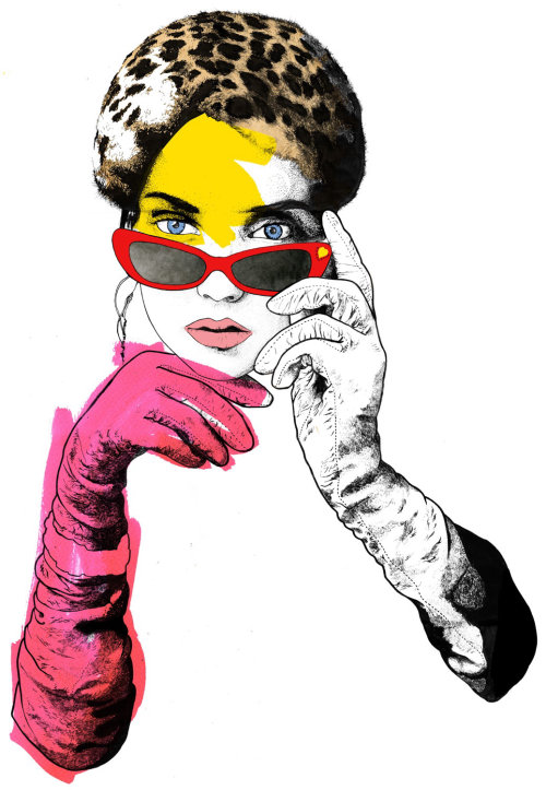 Portrait of fashion lady -  An illustration by Chris Ede