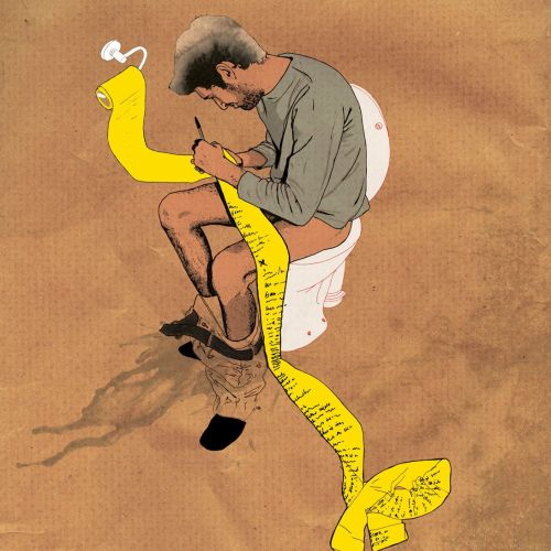 Man in toilet - An illustration by Chris Ede