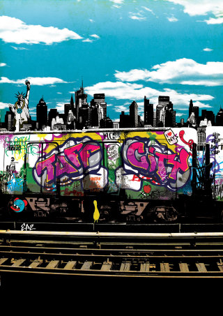 Music album graffiti illustration