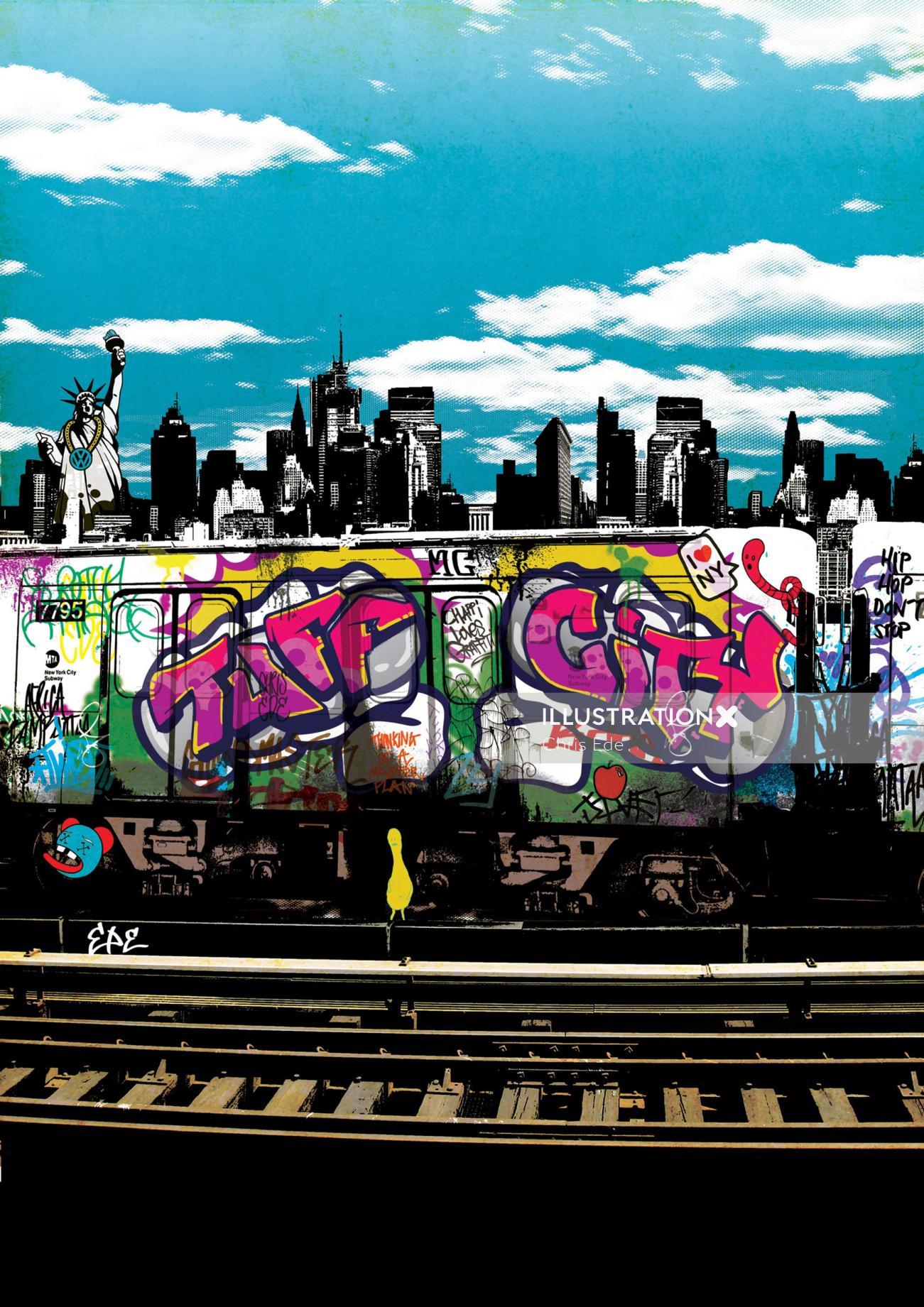 Music album graffiti illustration