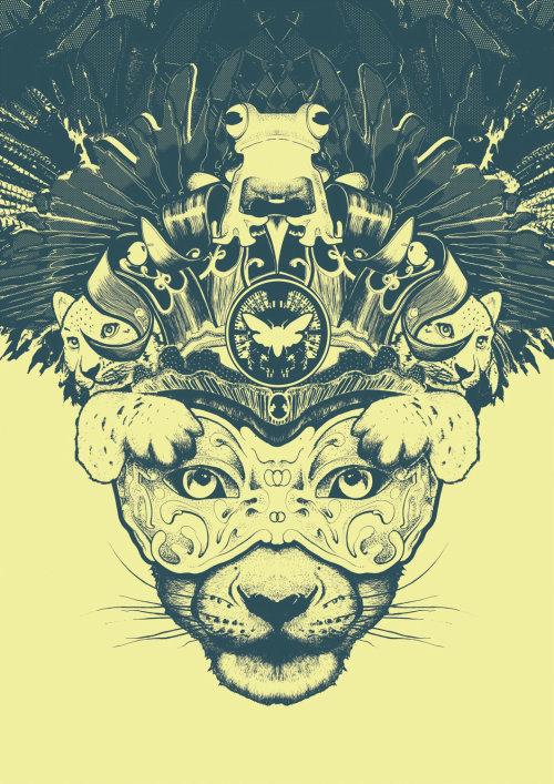 Costume feather cat mask illustration