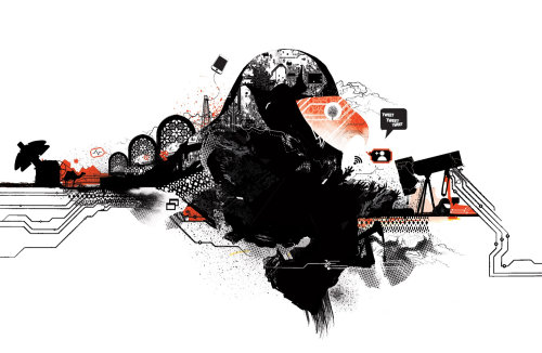 伊拉克地图插图显示技术和社交网络