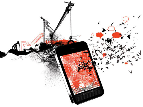 editorial art of phone and crane