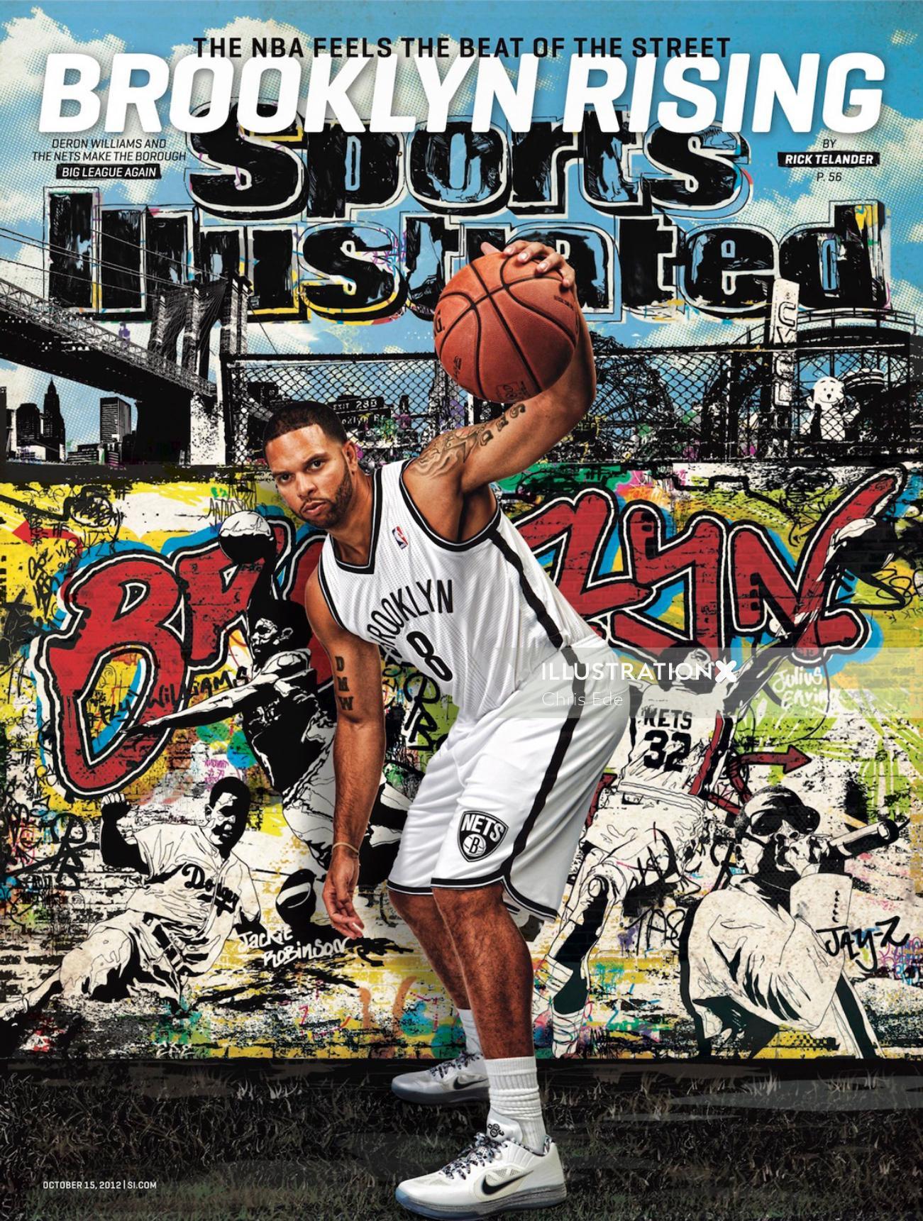 Graffiti illustration for basketball