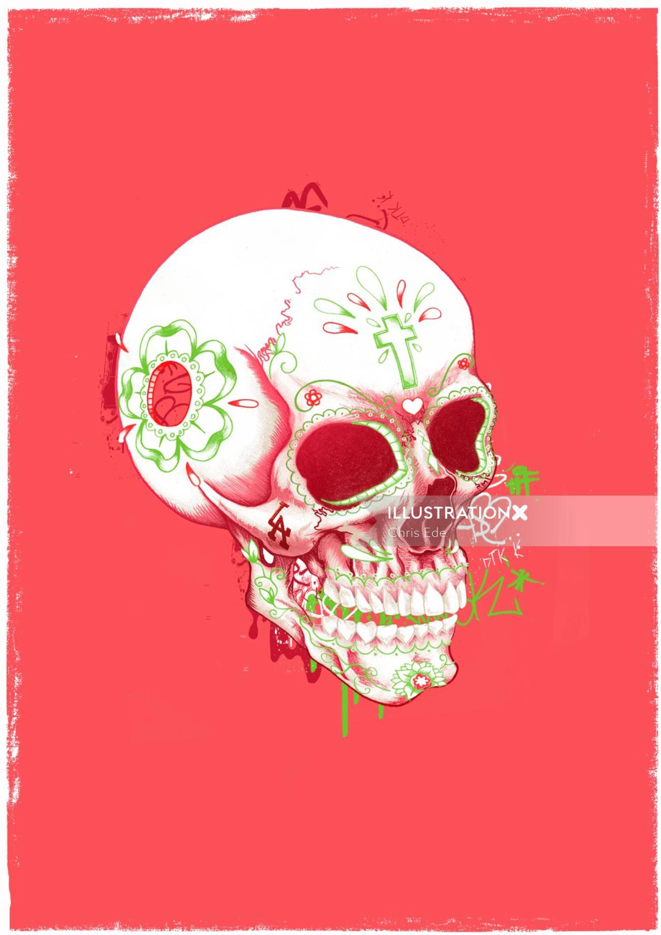 Skull illustration by Chris Ede