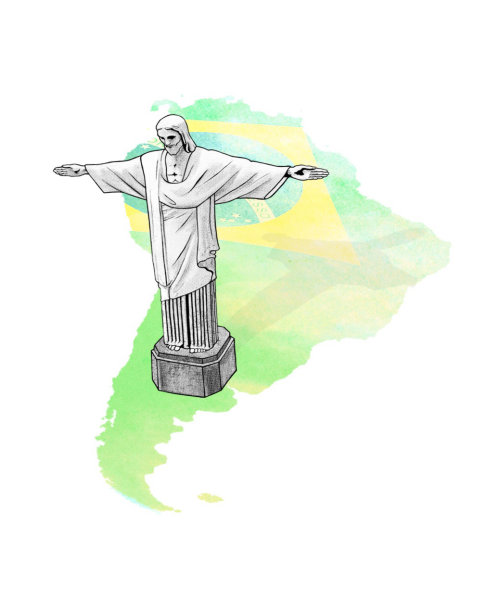 Aerial view Christ Redeemer - An illustration by Chris Ede
