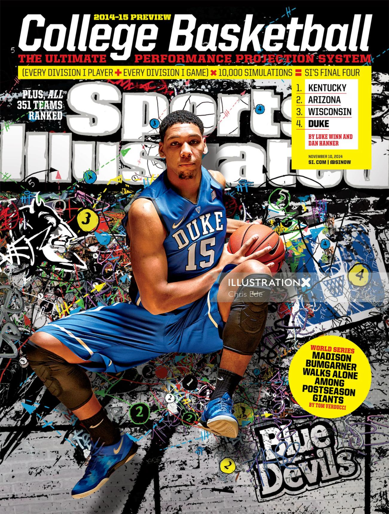 Basket ball magazine cover illustration by Chris Ede