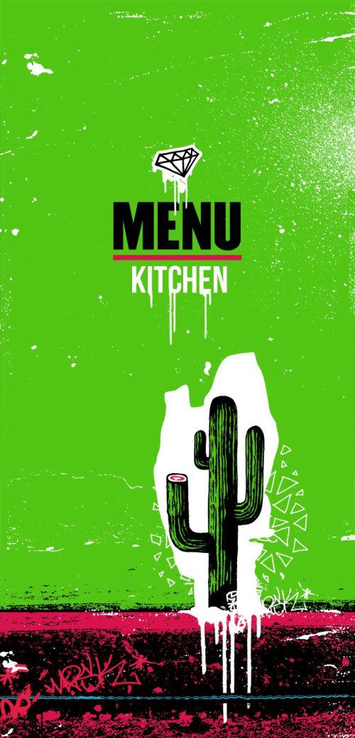 Menu kitchen of mexico food cactus designed