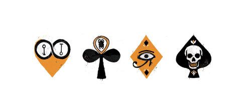 graphic icons egypt, heart, skull