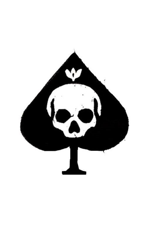骷髅死亡品牌标志的扑克牌